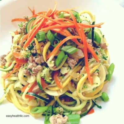 Stir Fry ground pork and spiralized carrots, squash