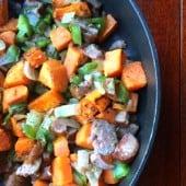 sweet potato hash in black skillet