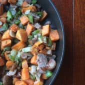 sweet potato hash in black skillet