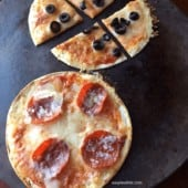 Low Carb Skillet Pizza on pizza stone