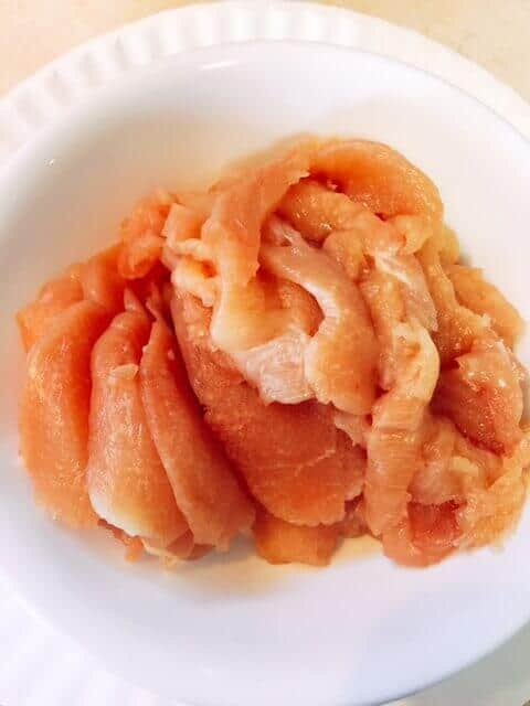 Thinly sliced raw chicken breast