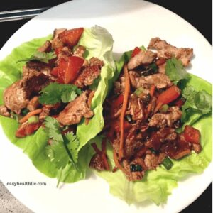 Low Carb Pork Tenderloin Lettuce Wraps on white plate
