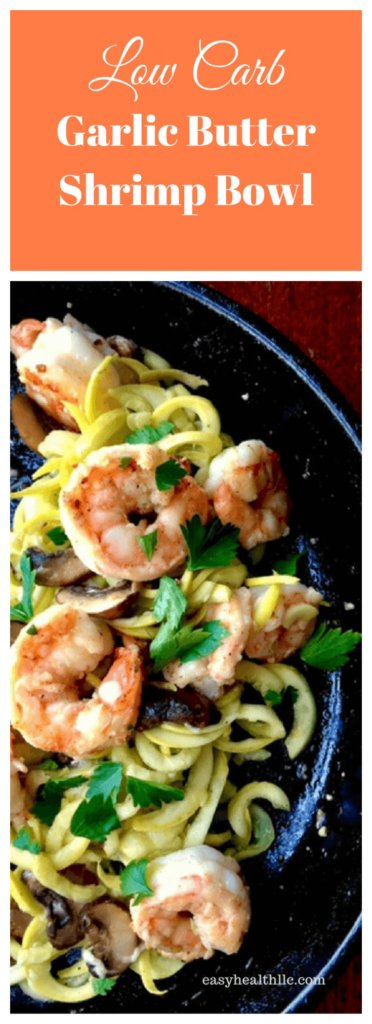sautéed shrimp on spiralized squash noodles in skillet