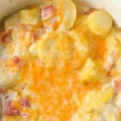 squash casserole with rotel closeup