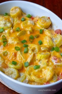 rotel squash casserole with chopped green onions on top