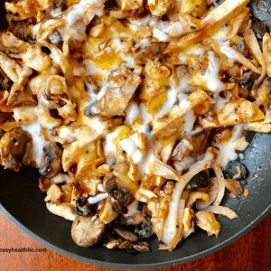 cooked mushrooms, onions, chicken with bbq sauce and melted cheese