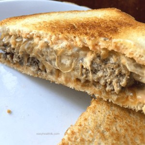 patty melt on white plate