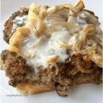 beef patty melt with onions and melted white cheese on thin bread