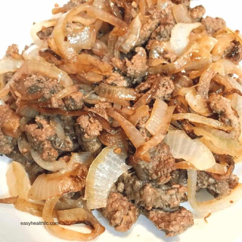 cooked ground beef with onions