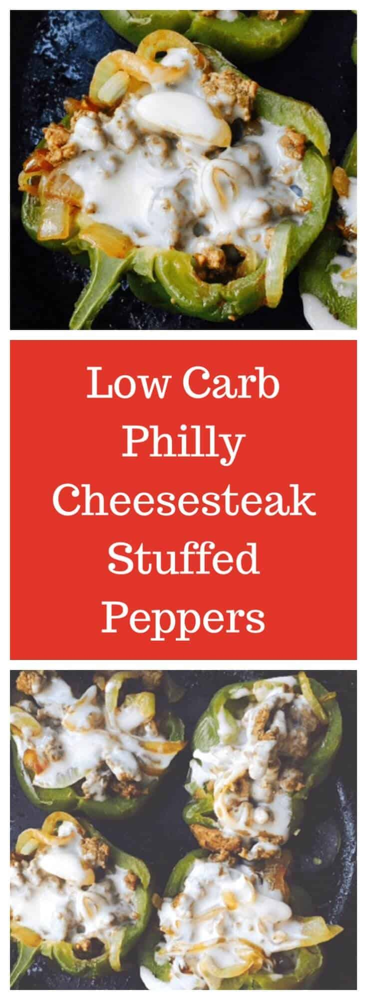 Low carb stuffed peppers features tender beef and onions covered in melted cheese. This easy cheese steak recipe makes a quick weeknight dinner the whole family will love. #stuffedpeppers