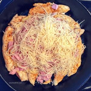 swiss cheese layer chicken cordon bleu