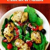 pesto chicken salad on white plate
