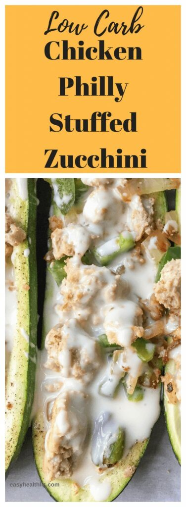 chicken philly stuffed zucchini