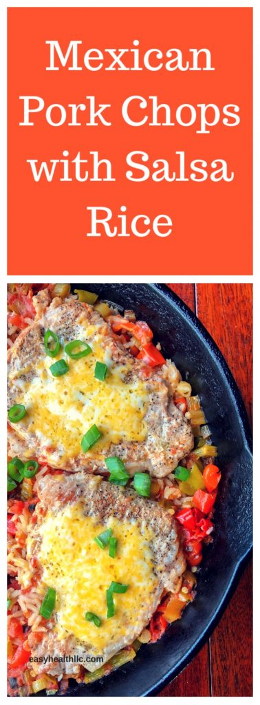 mexican pork chops and salsa rice in iron skillet