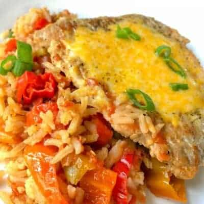 pork chop with rice and tomatoes