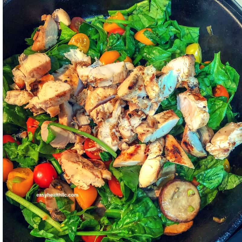 mushrooms, onions, tomatoes and grilled chicken