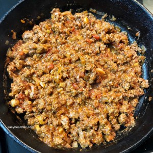 ground beef, tomatoes and onions
