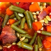 ham bone soup with carrots and green beans
