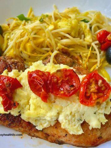 bruschetta chicken with spiralized veggies
