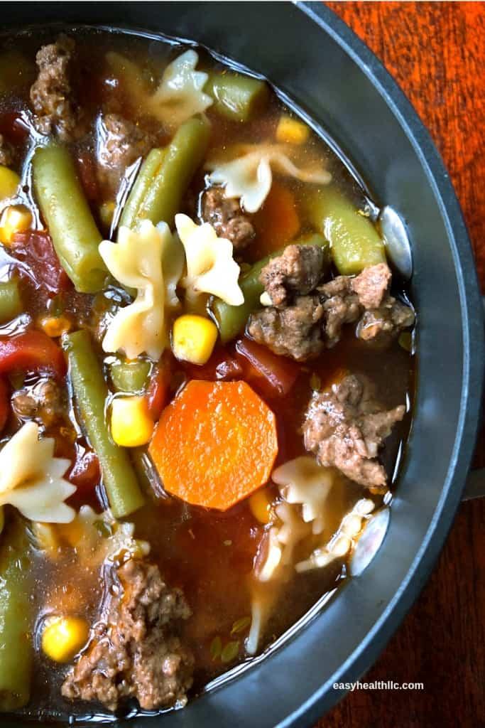 soup pot with hamburger vegetable soup