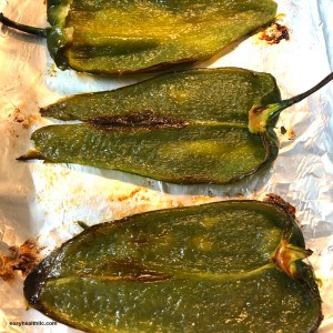 roasted poblano peppers ready to be filled with egg mixture