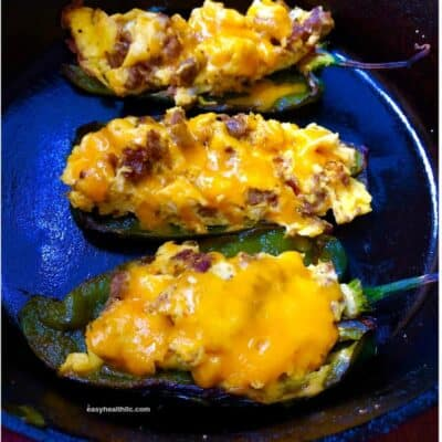 egg stuffed poblanos in skillet