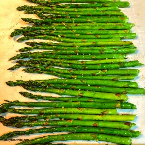fresh asparagus on pan