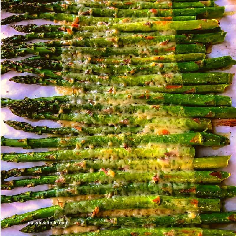 roasted asparagus with melted cheese