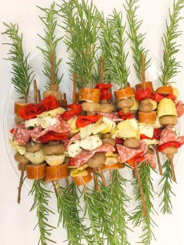 rosemary skewers on plate