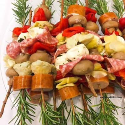 rosemary skewers on plate