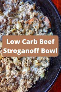 beef stroganoff in black skillet