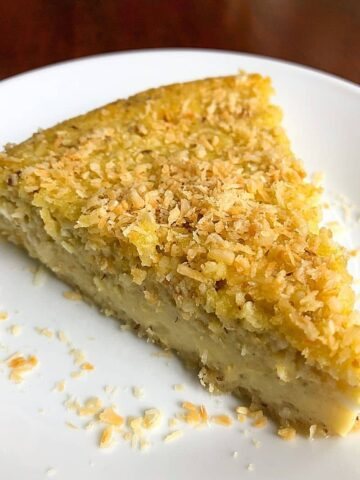 slice of coconut pie on plate