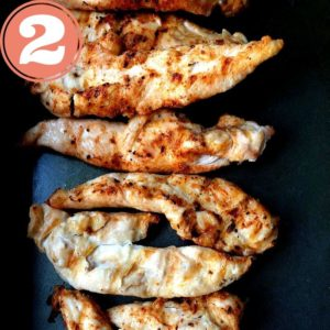 grilled chicken in metal pan