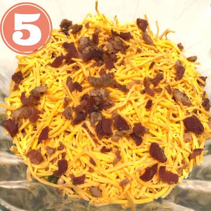 shredded cheese, bacon in bowl
