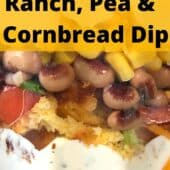 closeup of layered cornbread salad in clear bowl with text
