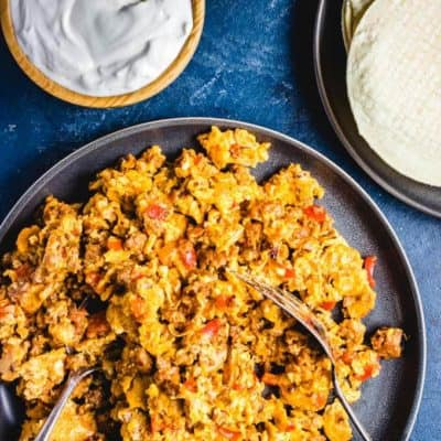 chorizo and eggs in skillet