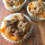 sweet potato casserole no sugar in muffin cup on wooden board