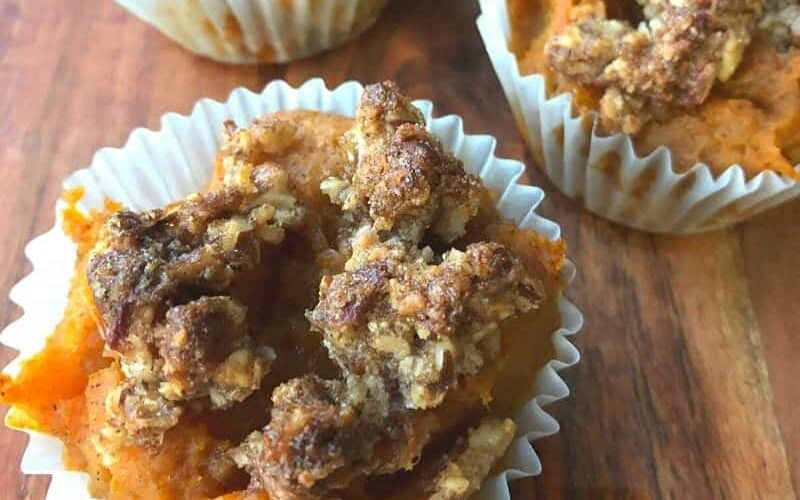 sweet potato casserole no sugar in muffin cup on wooden board