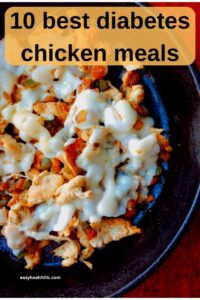 chicken and melted cheese in black skillet with text overlay
