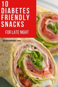 tortilla wrap with diabetes snack text