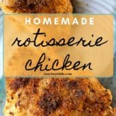 rotisserie chicken on plate with label
