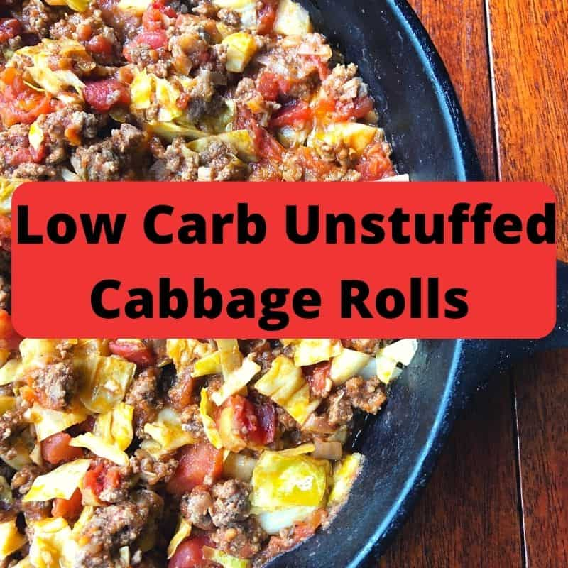 unstuffed cabbage rolls close up in skillet