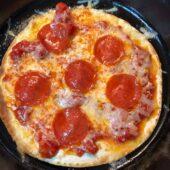 diabetic pizza in skillet