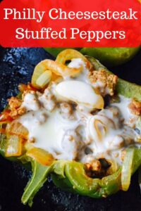 closeup of philly cheesesteaks stuffed pepper