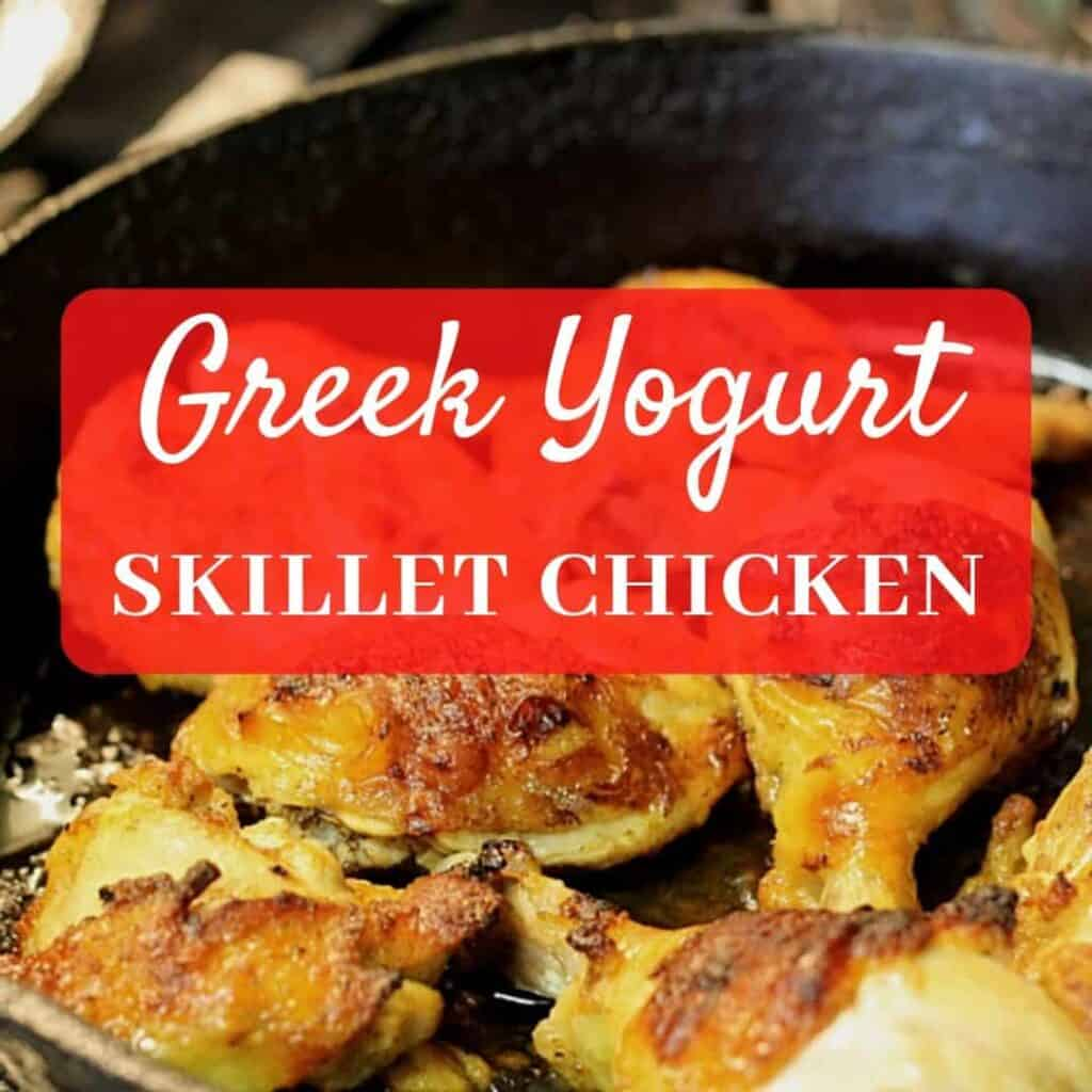 greek yogurt roasted chicken in skillet