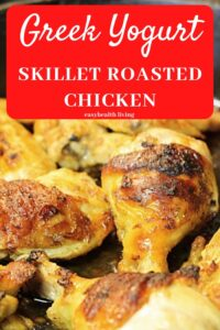 yogurt chicken in black skillet