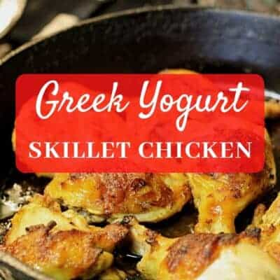 greek yogurt roasted chicken in skillet