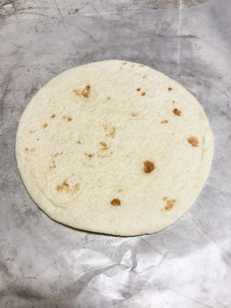 tortilla on cutting board