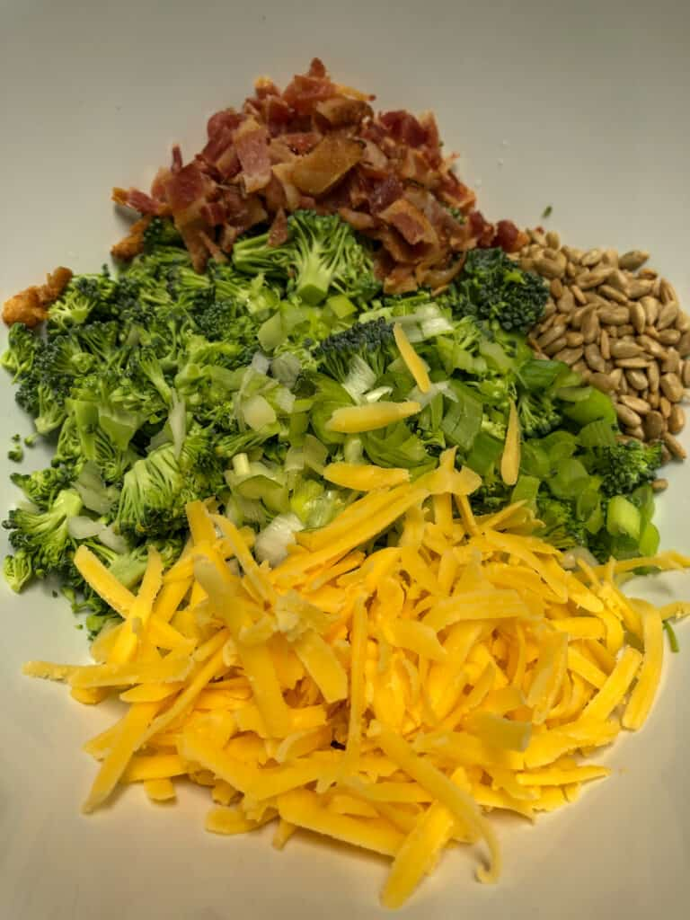 chopped broccoli, diced bacon, grated cheese, sunflower seeds in white bowl