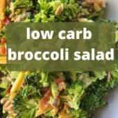 broccoli salad closeup with text overlay